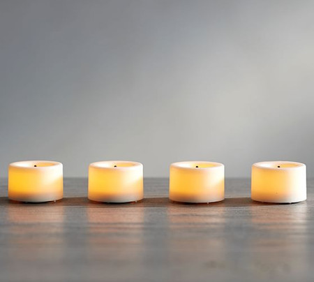 Flameless Plastic Outdoor Tealights – Set of 4