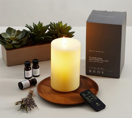 Flameless Oil Diffuser Pillar Candle With Remote