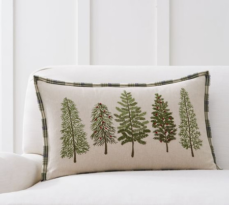 Forest Embroidered Lumbar Pillow Cover