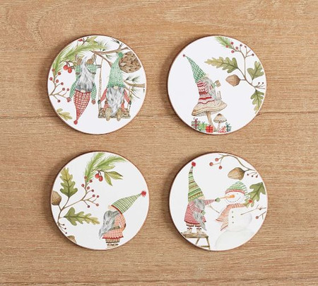 Forest Gnome Assorted Cork Coasters - Set of 4