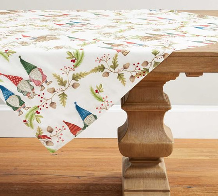 Forest Gnome Embroidered Cotton/Linen Table Throw