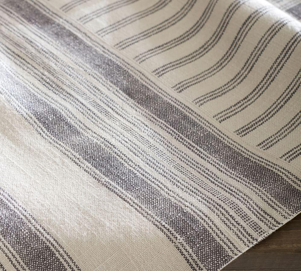 French Striped Patchwork Table Throw