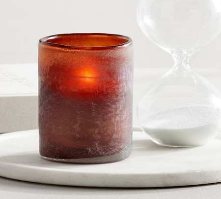 Frosted Glass Votive Holder - Amber