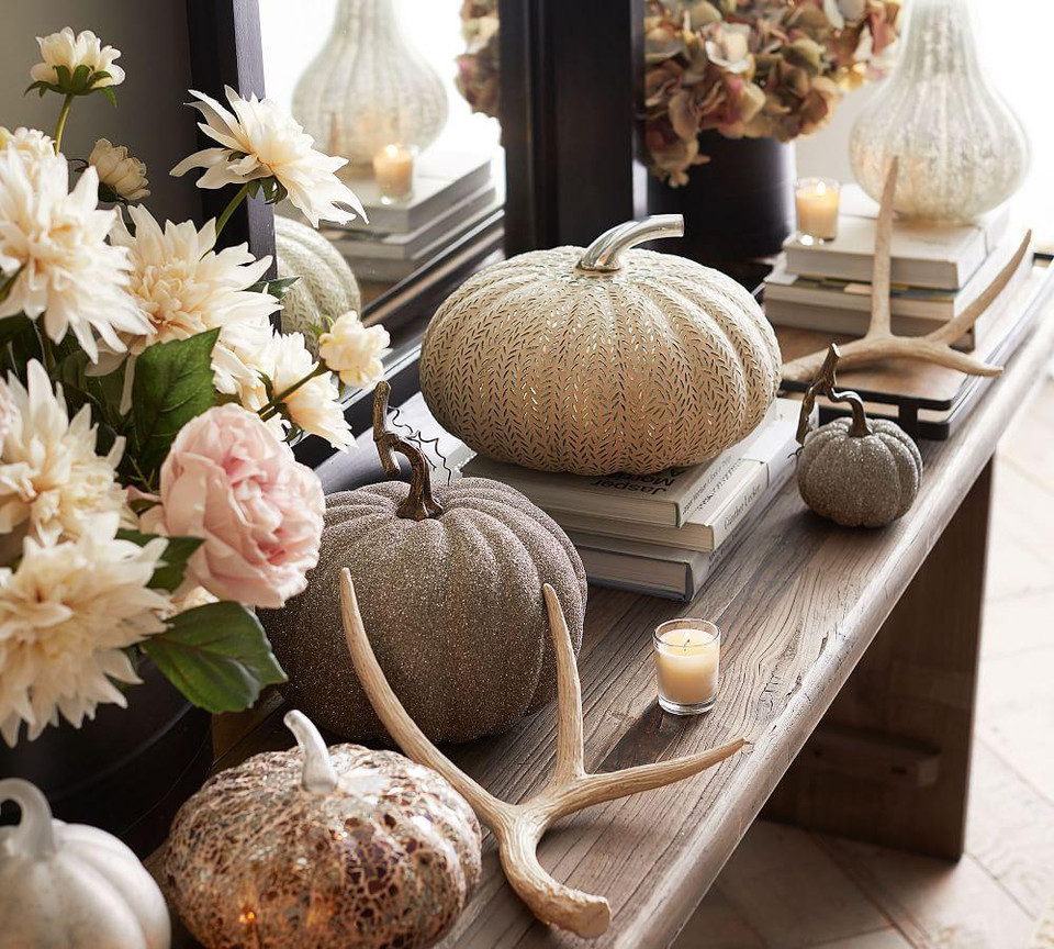 Frosted Mercury Glass Pumpkins Pottery Barn Canada