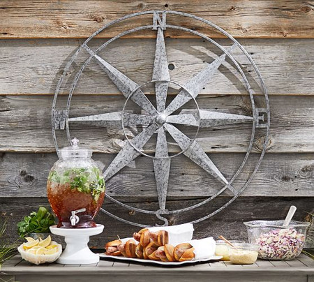 Galvanized Compass Wall Art