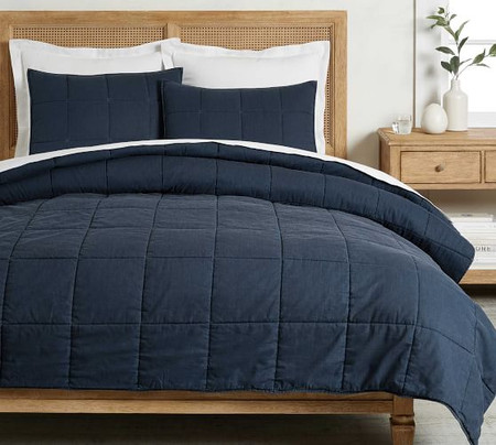Garment Washed Cotton Comforter & Shams - Dark Blue