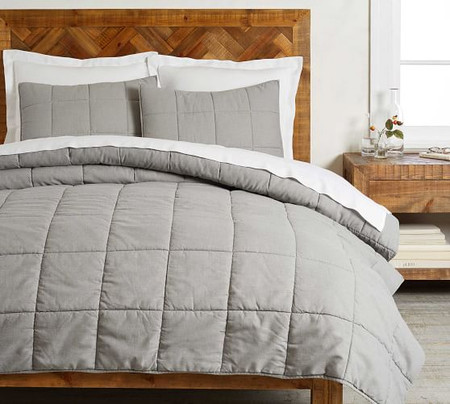Garment Washed Cotton Comforter & Shams - Gray