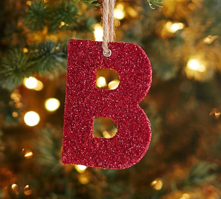 German Glitter Letter Ornaments