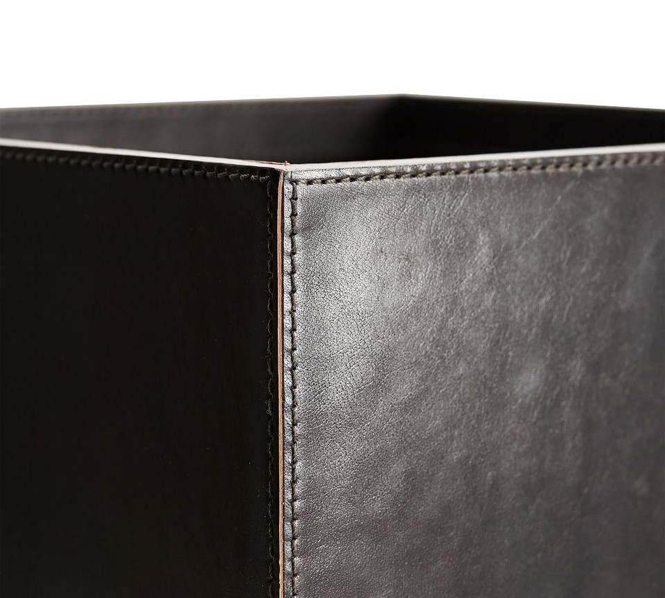 Gia Leather Desk Accessories Collection Black Pottery