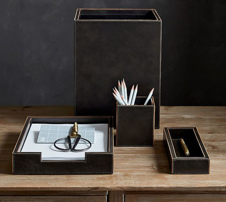 Gia Leather Desk Accessories Collection - Black