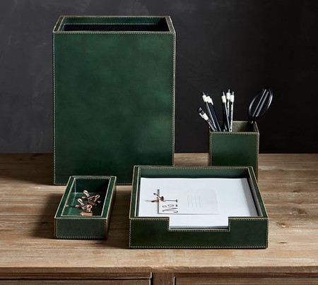 Gia Leather Desk Accessories Collection - Green