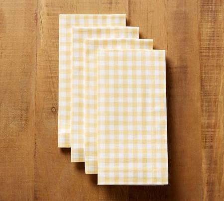Gingham Napkin, Set of 4 - Yellow