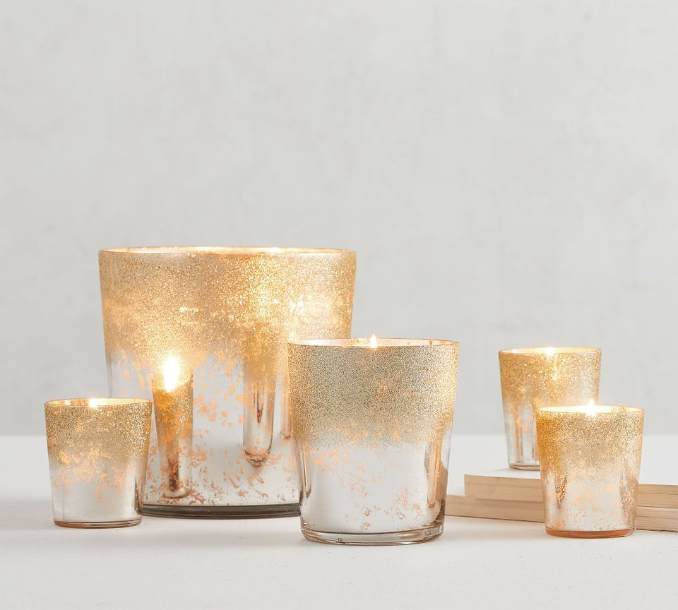Glitter Mercury Glass Scented Candles - Frosted Fir & Chestnut