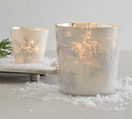 Glitter Snowflake Votive Candle Holders