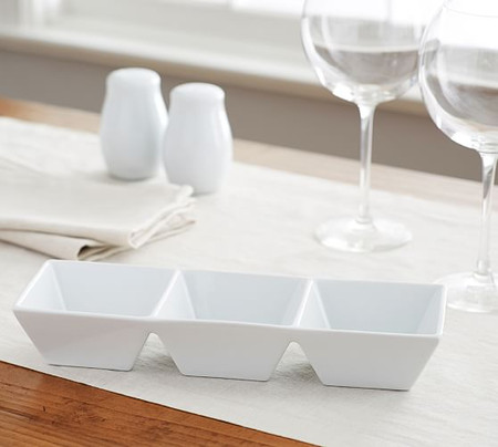 Great White Porcelain Divided Condiment Server