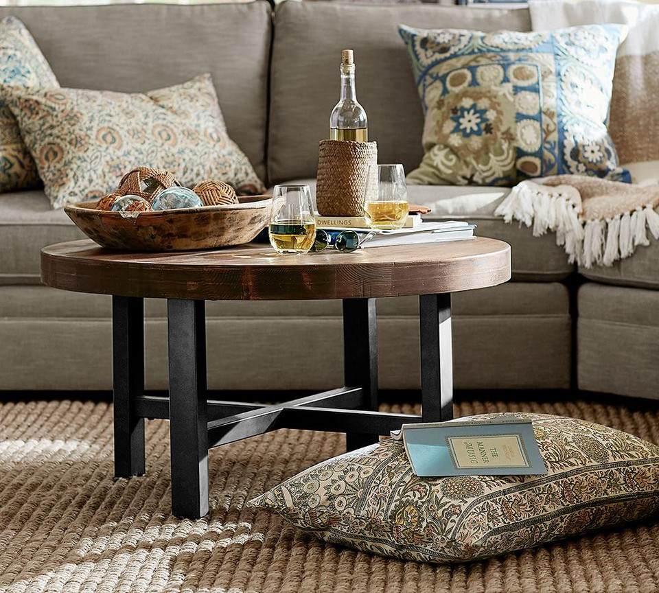 Griffin Reclaimed Wood Round Coffee Table | Pottery Barn ...