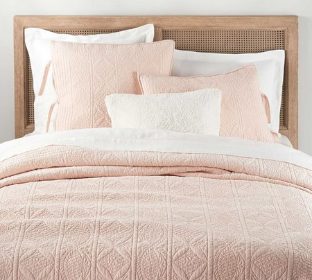 Hanna Cotton Linen Blend Quilt & Shams - Soft Rose