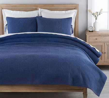 Hanna Cotton Linen Blend Quilt & Shams - Twilight