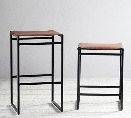 Hardy Backless Leather Bar & Counter Stools