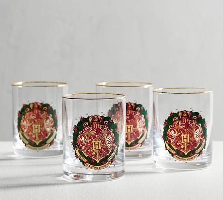 HARRY POTTER™ HOGWARTS™ Holiday Crest Glass Tumblers, Set of 4