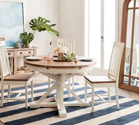 Hart Reclaimed Wood Pedestal Extending Dining Table, Driftwood White
