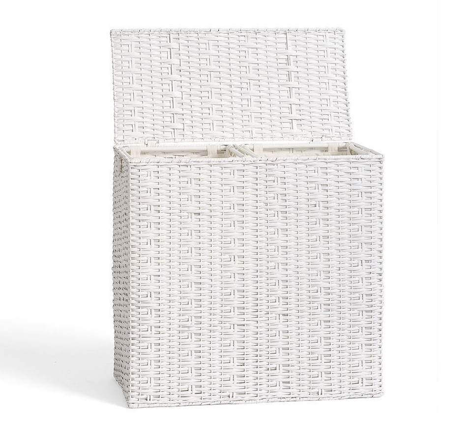 Perry Divided Hamper Amp Liner White Pottery Barn Canada