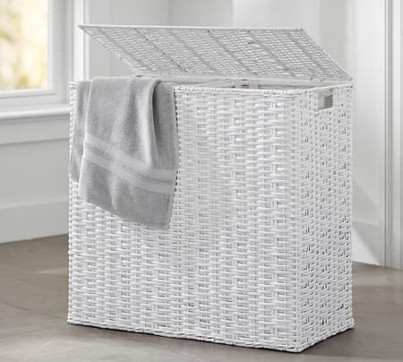 Perry Divided Hamper & Liner - White