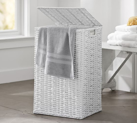 Perry Single Hamper & Liner - White