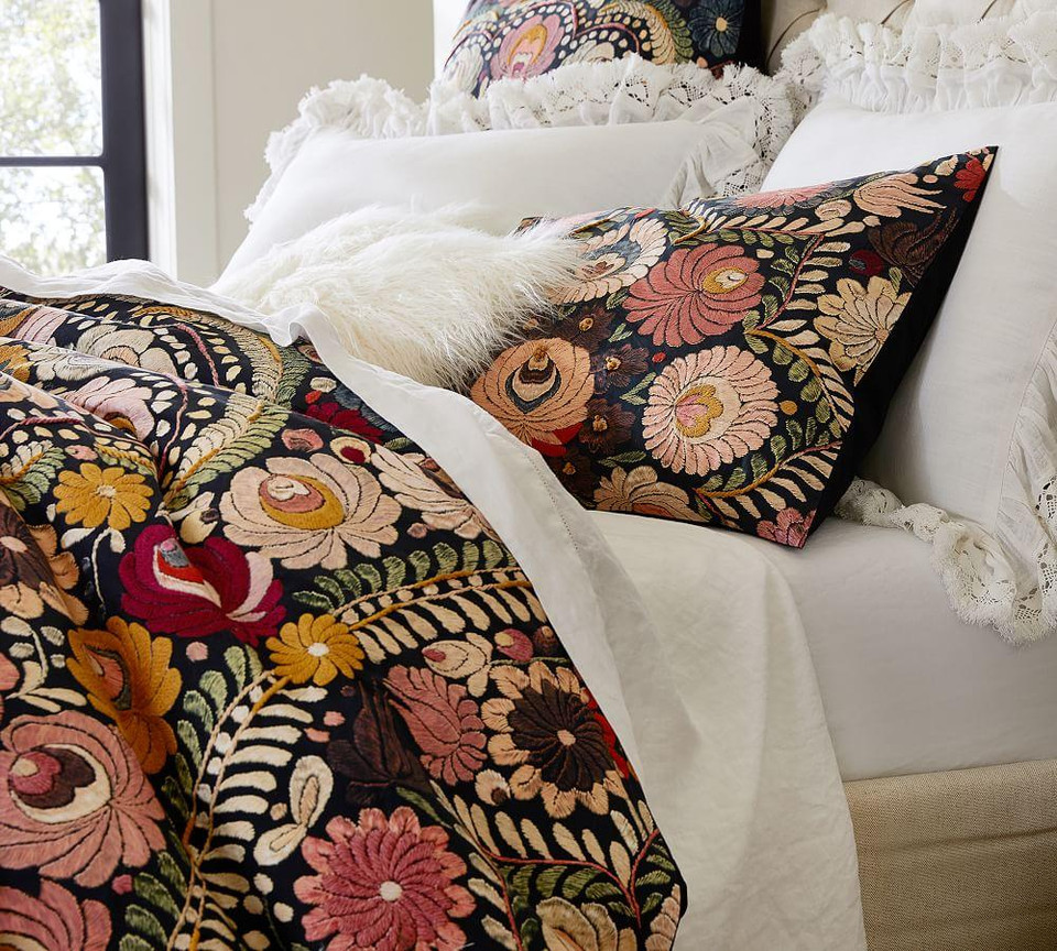 Helena Embroidered Floral Percale Duvet Cover & Shams