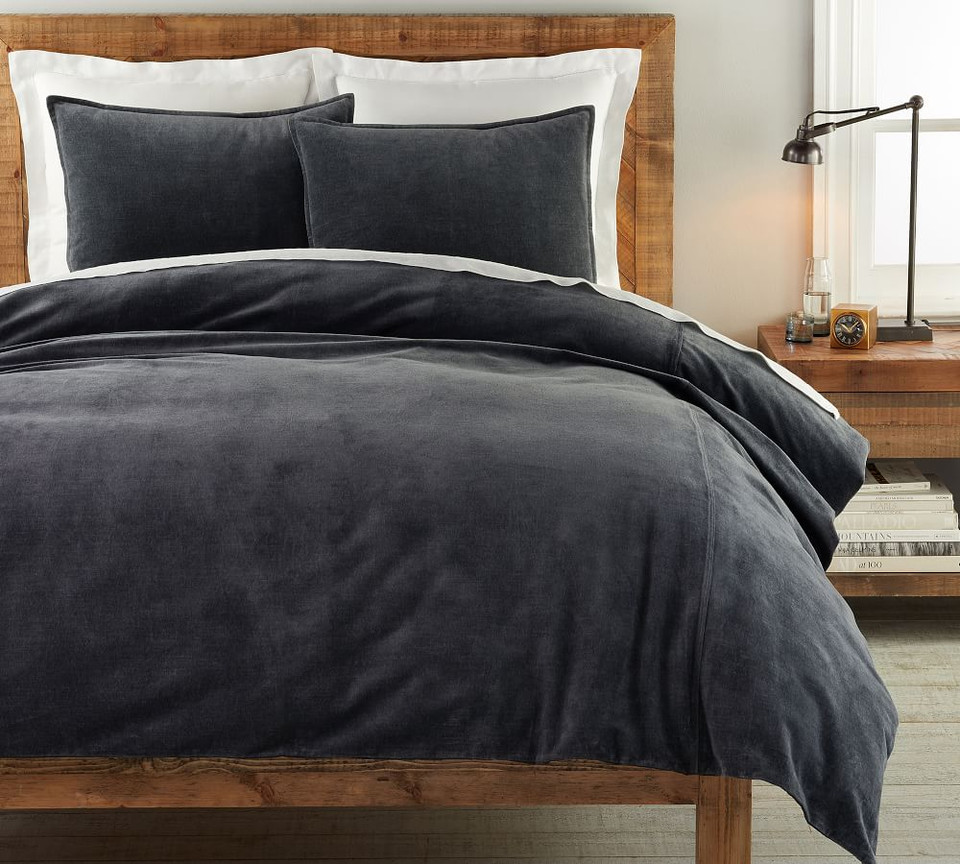 Hudson Heathered Velvet Duvet Cover & Shams - Charcoal