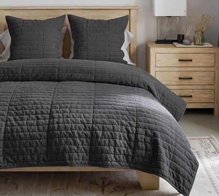 Hudson Handcrafted Heathered Velvet Quilt & Shams - Charcoal