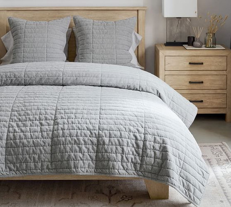 Hudson Handcrafted Heathered Velvet Quilt & Shams - Grey