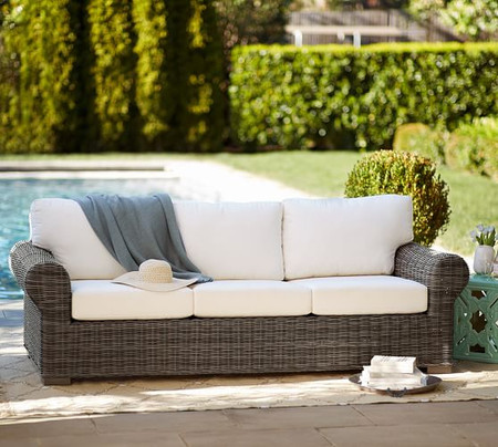 Huntington All-Weather Wicker Roll Arm 90.5'' Sofa