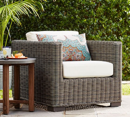 Huntington All-Weather Wicker Square Arm Lounge Chair