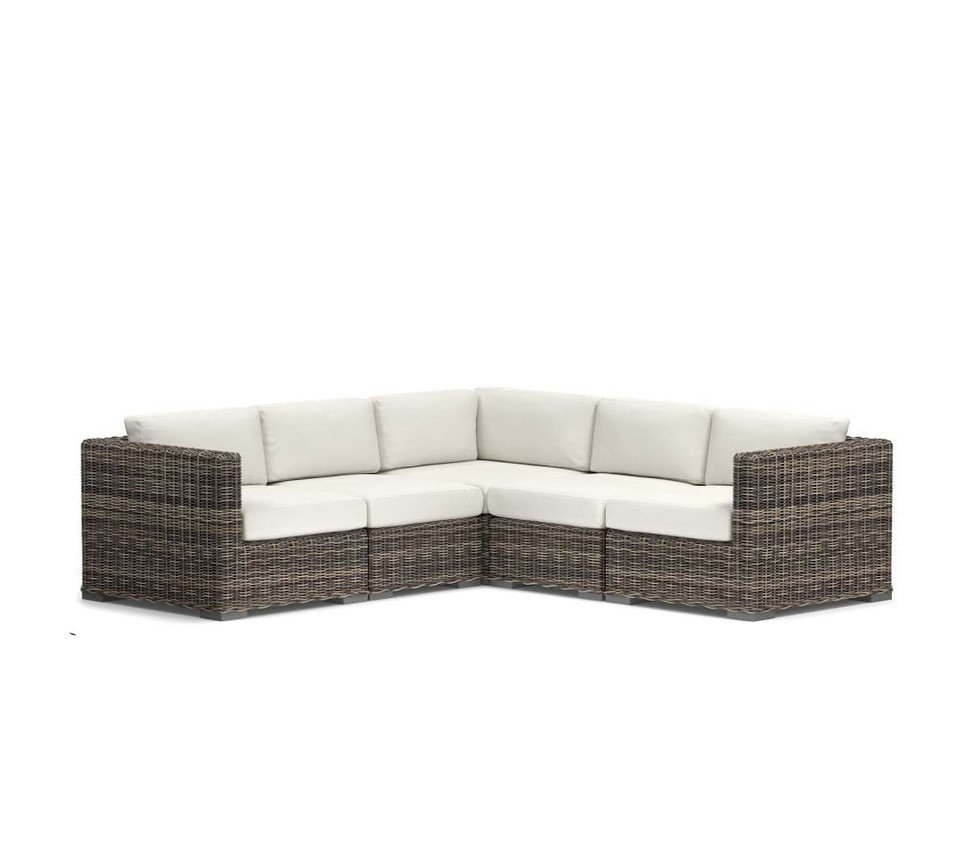 Huntington All-Weather Wicker Square Arm Sectional Set