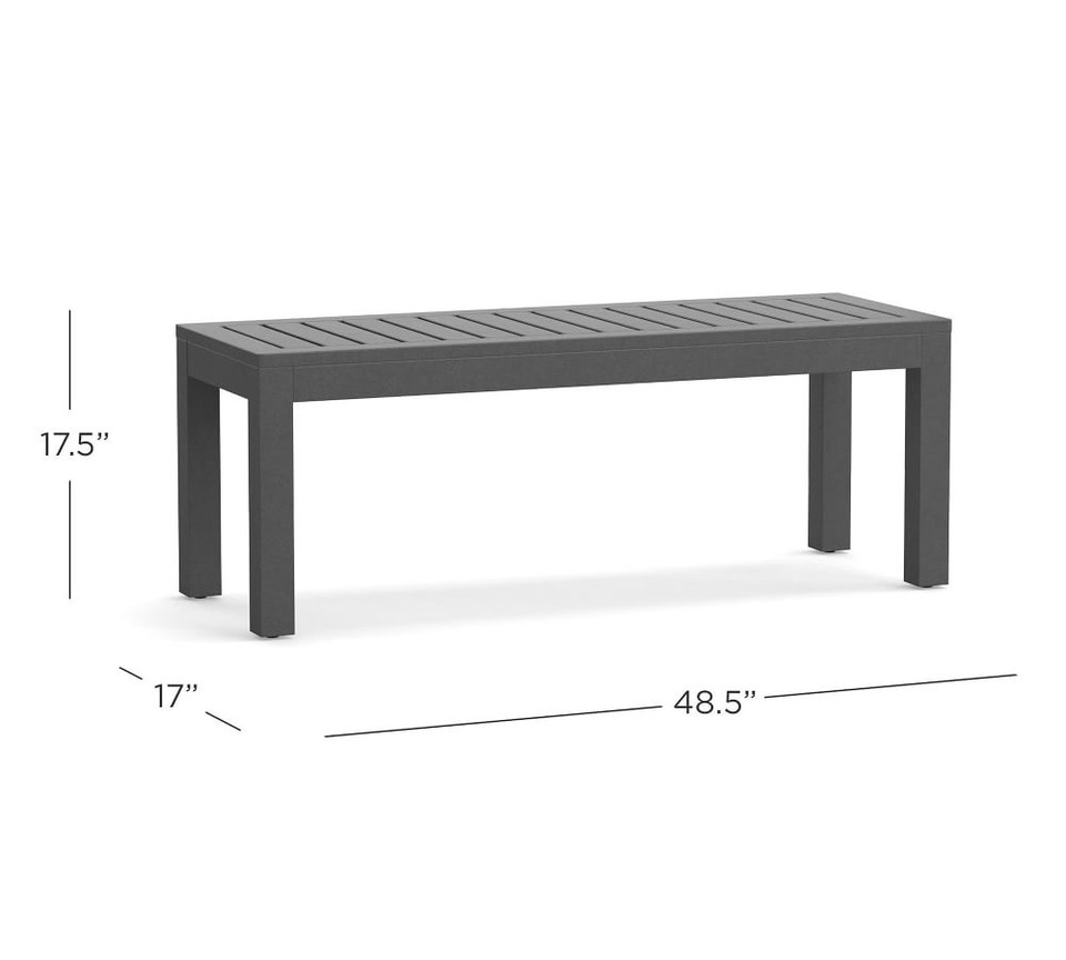Indio Metal Dining Bench, Slate