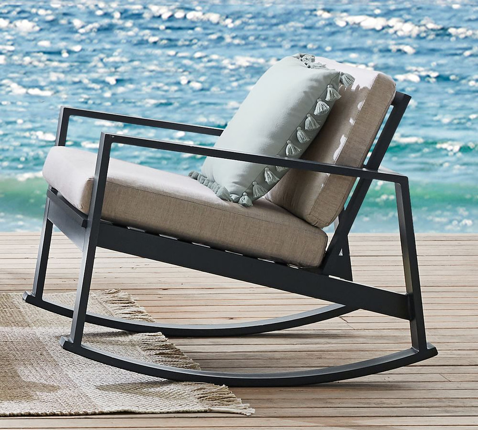 Indio Metal Rocking Lounge Chair, Slate
