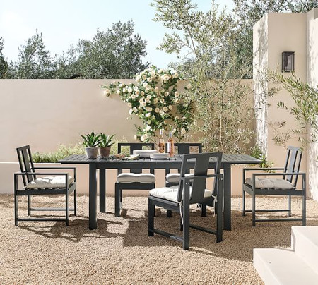 Indio Metal Extending Dining Table & Chair Set, Slate