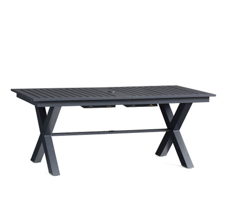 Indio Metal X-Base Extending Dining Table, Slate