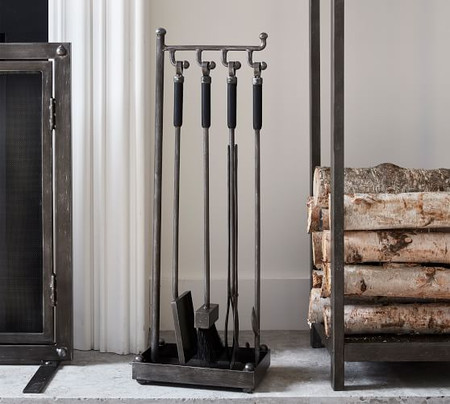 Industrial 5-Piece Fireplace Tool Set