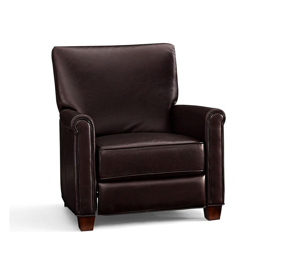 Irving Roll Arm Leather Recliner Pottery Barn Canada
