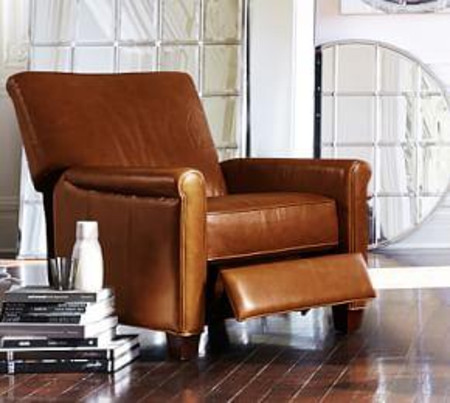 Irving Roll Arm Leather Recliner