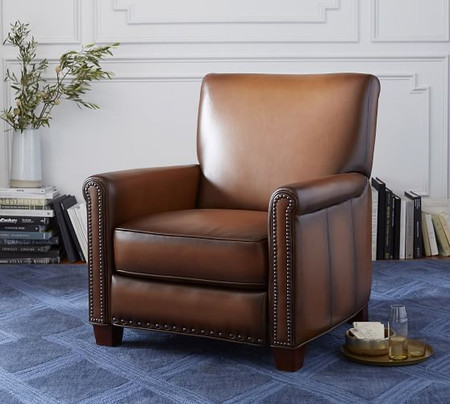 Irving Roll Arm Leather Recliner with Nailheads