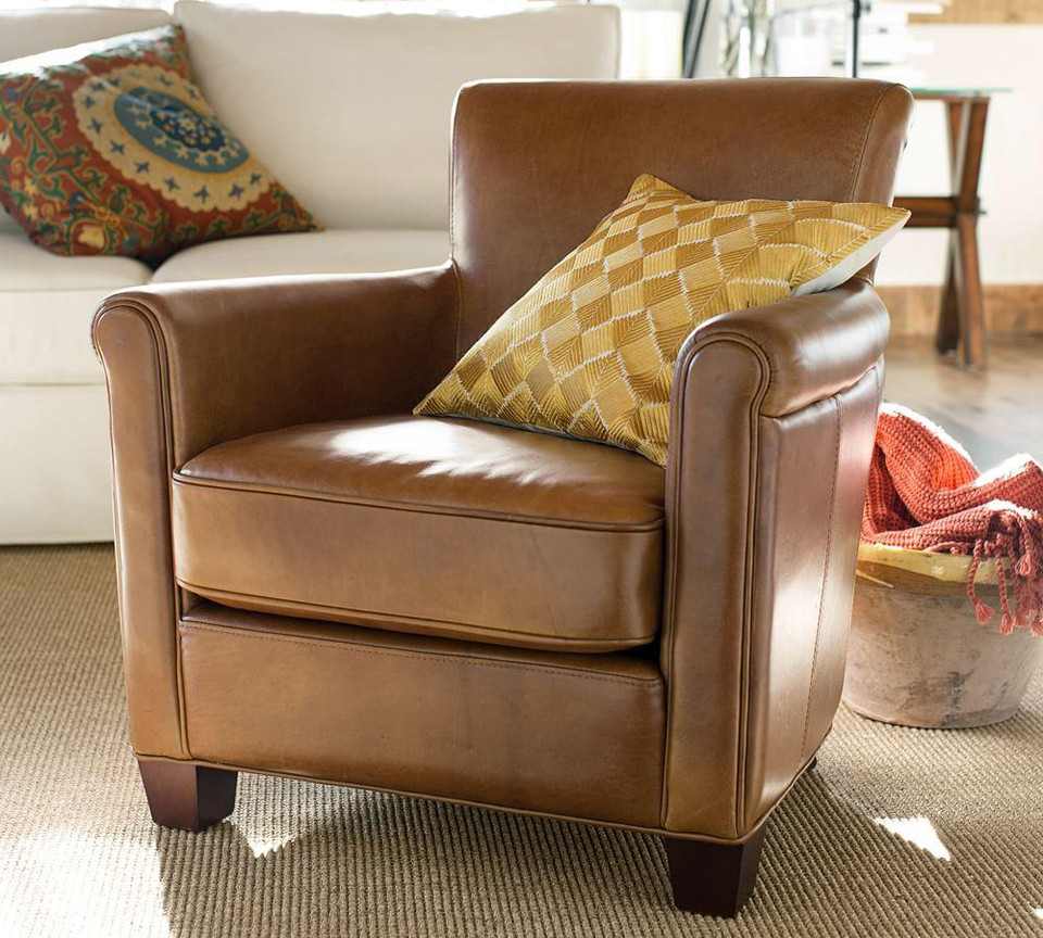 Irving Roll Arm Leather Armchair Pottery Barn Canada
