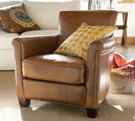 Irving Roll Arm Leather Armchair