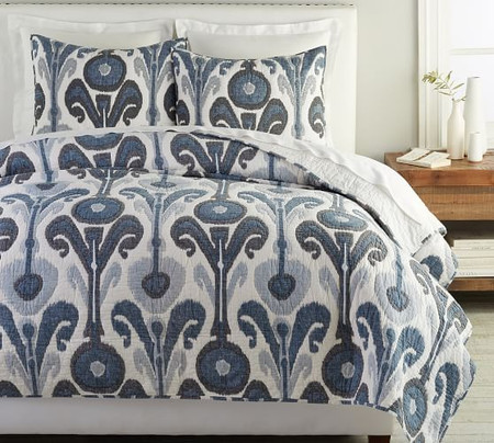 Kenmare Handcrafted Cotton Quilt & Shams - Blue