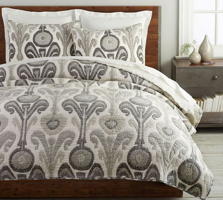 Kenmare Handcrafted Cotton Quilt & Shams - Grey