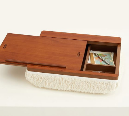 Walnut & Sherpa Storage Lap Desk