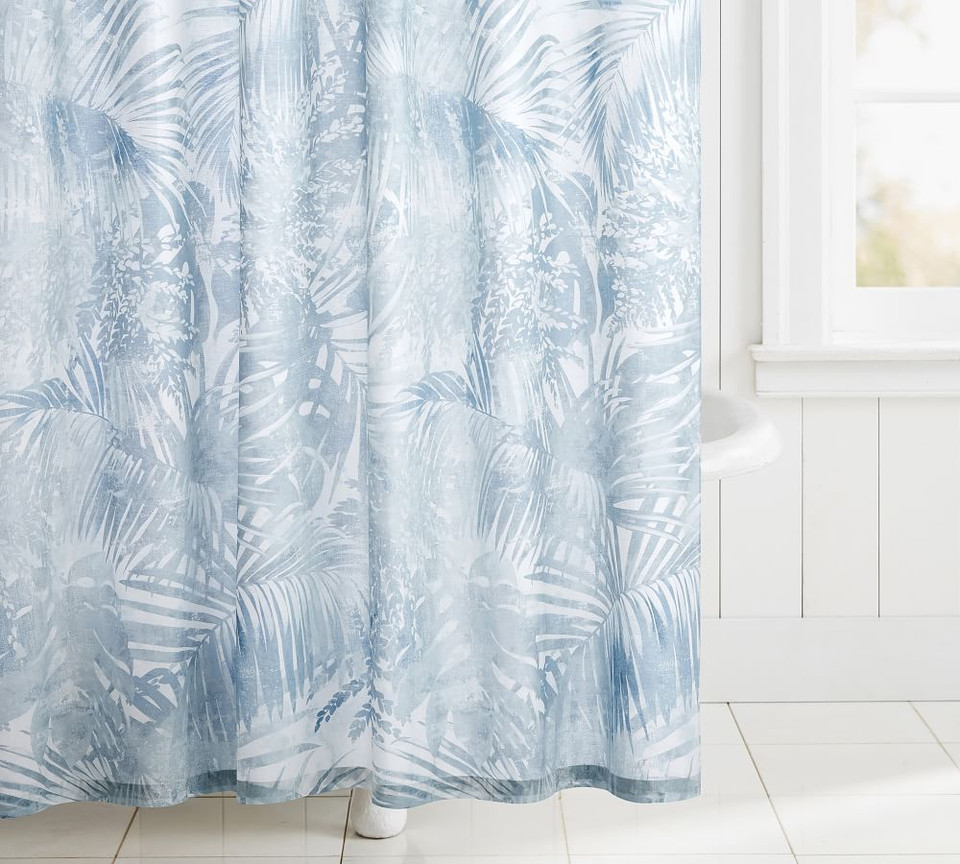 Layla Palm Organic Shower Curtain Pottery Barn Ca