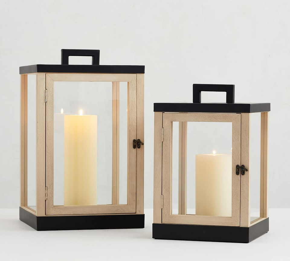 Levi Mango Wood Lanterns